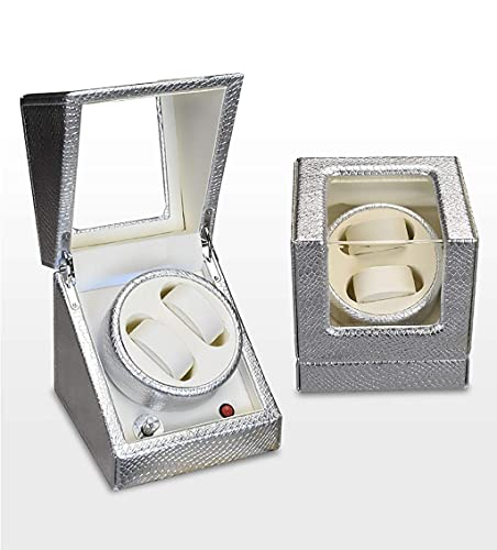 Enrollador automático de reloj Caja enrolladora de reloj automática doble Estuche de almacenamiento de cuero de lujo para 2 relojes de pulsera con lámpara de atmósfera LED, 5 modos de rotación, motor