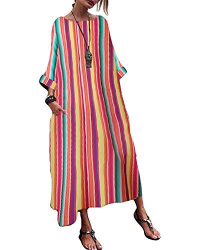 KIDSFORM Dam vardaglig lös klänning vintage långärmad maxiklänningar bomull linne överdimensionerat tryck höst