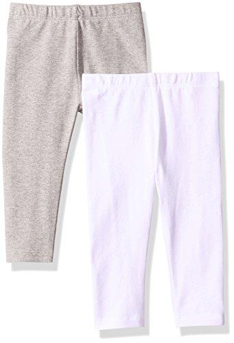 The Children's Place Baby Girls' 2 Pack Basic Leggings, Grey/White, 9-12 Months