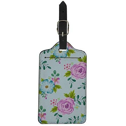GOONSDS Maleta de identificación de Equipaje de Cuero Maleta, Hermoso patrón de Flores, Personalizable,A