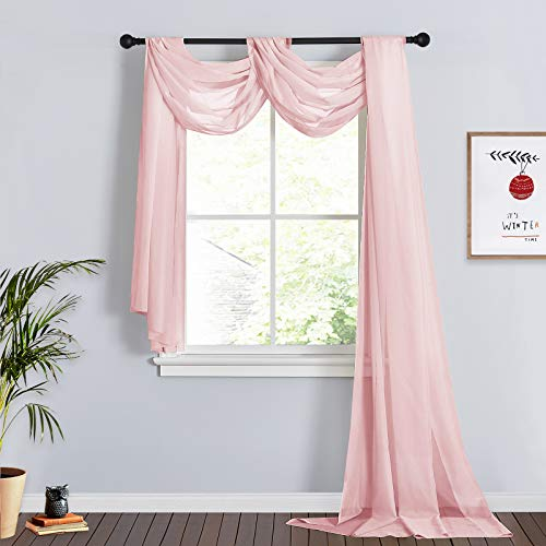 RYB HOME Canopy Bed Curtains for Kids Room Long Sheer Backdrop Curtains Window Scarfs for Wedding Birthday Party Table Runner, 60 x 216 in per Panel, 1 Pair, Pink