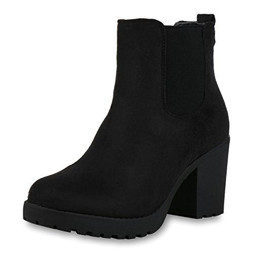 SCARPE VITA Damen Stiefeletten Warm Gefütterte Chelsea Boots Plateau Schuhe 165588 Schwarz Schwarz Total 39