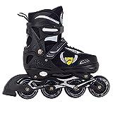 Sumeber Pattini in linea per bambini, misura regolabile, con ruote illuminanti illuminanti, pattini a rotelle in linea per principianti, adolescenti, ragazze e ragazzi (nero, S(EU 28-32/US j11-1))