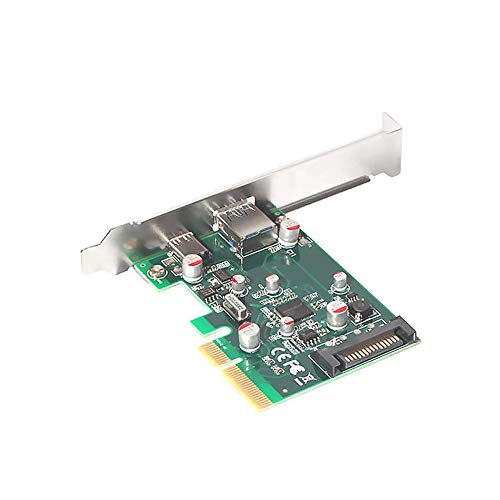 Ajcoflt PCI-E to USB 3.1 Type A + Type C Expansion Card 10Gbps Converter Adapter Card for Desktop PC