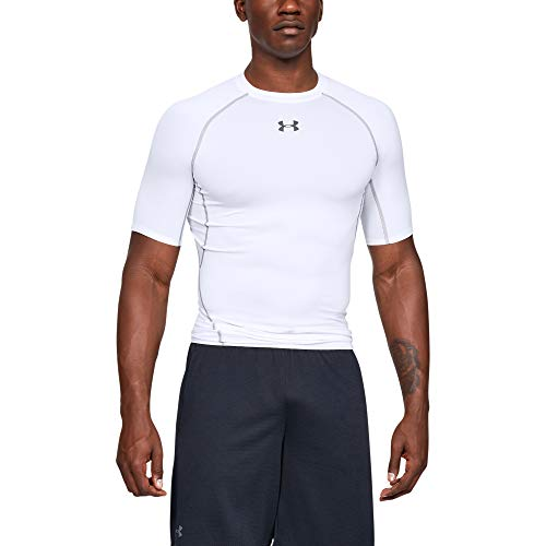 Under Armour Men's HeatGear Armour Short Sleeve Compression T-Shirt, White (100)/Graphite, XX-Large