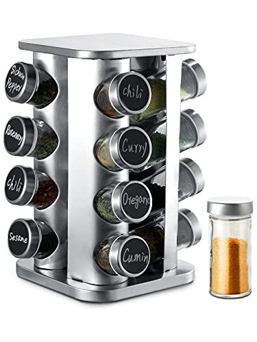 Porta Spezie Rotante a 360° con 16 Contenitori per Spezie - Barattoli Ermetici - Con Etichette e Pennarello Cancellabile