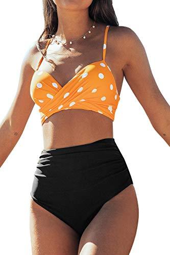 CUPSHE Damen Bikini Set mit Wickeloptik Punkte Bikini High Waist Raffungen Bademode Zweiteiliger Badeanzug Gelb/Schwarz S