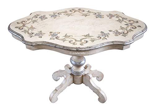 Schöner Couchtisch mit handgemachten Blumen-Dekor, antike Lackierung mit Silber, elegantes Möbelstück Made in Italy Wohnzimmer