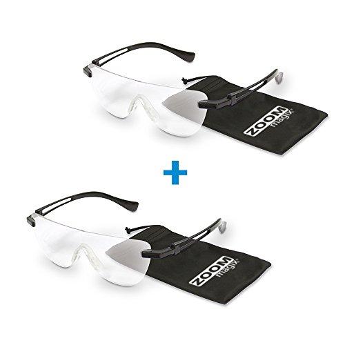 Zoom Magix | 2 Stück | Vergrößerungsbrille | Lupen-Brille | Lesehilfe | optische Vergrößerung bis 160% | für Brillenträger geeignet | Polycarbonat-Gläser | Das Original von Mediashop