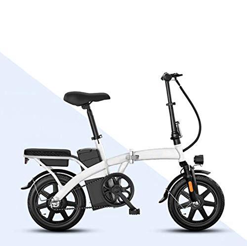 Adulto Que dobla el Mini Bicicleta eléctrica, 48V batería de Litio de Alta de Acero al Carbono Plegable pequeña Bicicleta eléctrica, 14inch Mujeres Ciudad E-Bikes,Blanco,30KM