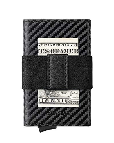 LUNGEAR Tarjetero Hombre de Cuero con Banda Clip de Dinero RFID Bloqueo Pequeñas Cartera Tarjetero Billetera Automatico - Fibra de Carbon