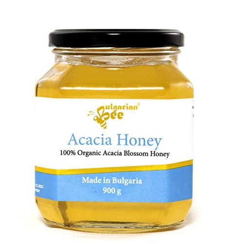 900 g Bio Miel de Fleur d'Acacia, Cru, non Chauffé, sans Sucre, non Pasteurisée, sans additifs
