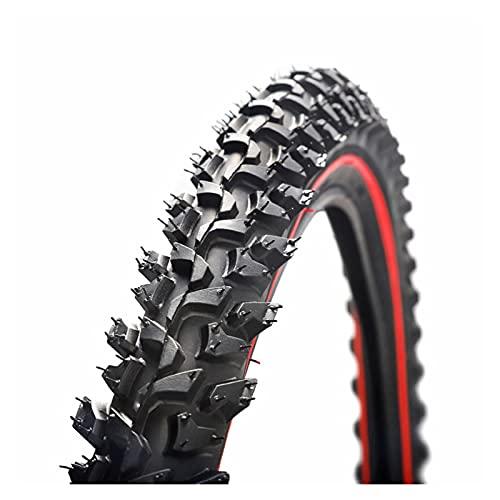 YJHL QIQIBH 26 x 2.125 Neumático de bicicleta bicicleta de montaña 26 pulgadas 24 pulgadas Rueda de neumático de bicicleta de montaña Piezas de bicicleta (color: 24 x 1.95 rojo)