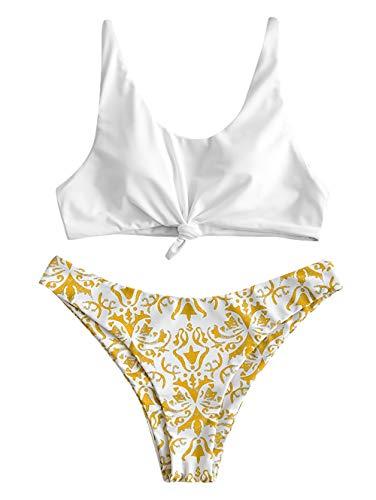 ZAFUL Damen Gepolstert High Cut Swimsuit Bikini Golden M