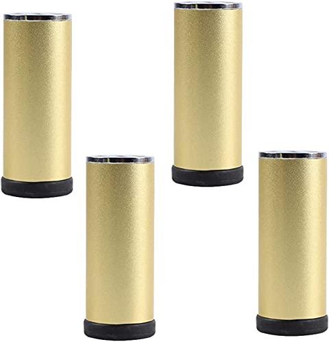 Patas de muebles de aleación de aluminio de metal 4x, patas de gabinete ajustables, pies de sofá cilíndricos Patas de soporte, patas de mesa de café, ajustables 0-8mm, almohadillas de pies antidesliz