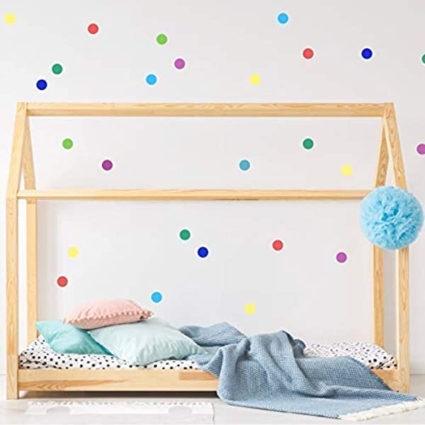Multicolor Rainbow Confetti Polka Dot Wall Decals For Baby Room 2 Inches