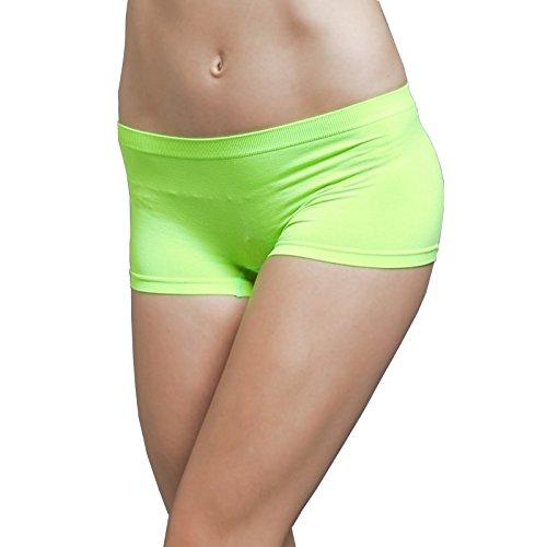 Ekimo T-USA Stretch Seamless Dance Exercise Yoga Mini Panties Boy Shorts Briefs Spankies (Neon Green)