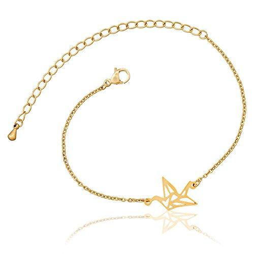 Selia Origami Kranich Armband Glück Schwan Armreif Glücksbringer minimalistisch handgemacht Edelstahl (Gold)