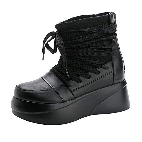YZJYB - Botas de tobillo para mujer, color negro con cuña baja, con cierre de cremallera, hebilla y detalle de ocio con cordones para motocicleta, suela antideslizante, 39