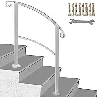 Happybuy 3-Step Transitional Handrail Fits 1 or 3 Steps Matte White Stair Rail Wrought Iron Handrail with Installation Kit Hand Rails for Outdoor Steps (Unadjustable)