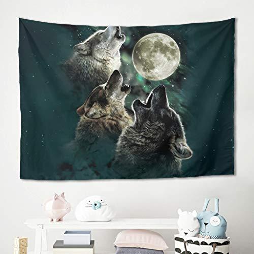 Homedb Wandbehänge Wandtuch Tapestry Mond Wolf Tier Picknick Decke Strandtücher Wand Tücher Schlafzimmer Polster Decke White 100x150cm