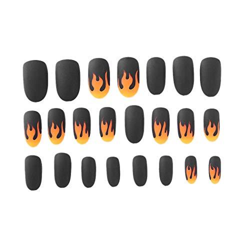 TOOGOO 24 PièCes Faux Ongles Noir Long Cercueil Flamme Faux Ongles Couverture ComplèTe Parti Acrylique Ongles Art pour les Femmes et les Filles