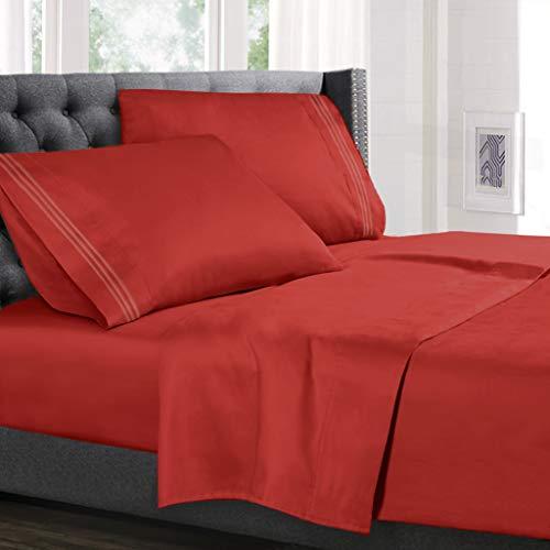 Hearth & Harbor 4 Piece Bed Sheet Set - Luxury Soft Double Brushed Microfiber - Deep Pockets, Hypoallergenic, Queen Size, Orange Rust