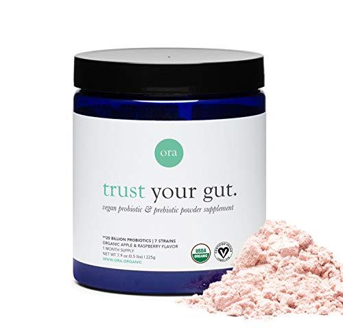 Ora Organic Prebiotic and Probiotic Powder Supplement - 20 Billion Probiotics, 7 Strains for Best Prebiotic Powder, Non-GMO, Probiotics for Women, Men & Kids - Apple Raspberry Flavor, 30 Servings…