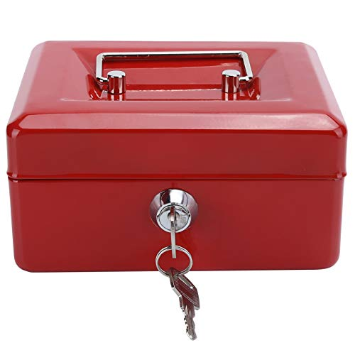 Mini caja de efectivo portátil EVTSCAN de 6 pulgadas, caja de seguridad para dinero con cerradura, caja de seguridad con cerradura para llaves, uso en el hogar y la oficina(rojo)