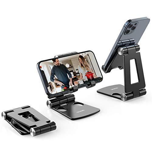 Cell Phone Stand,licheers Phone Stand for Desk, Foldable Phone Holder Compatible with All 4-7 Inch Moboile Phones Tablets(Black)