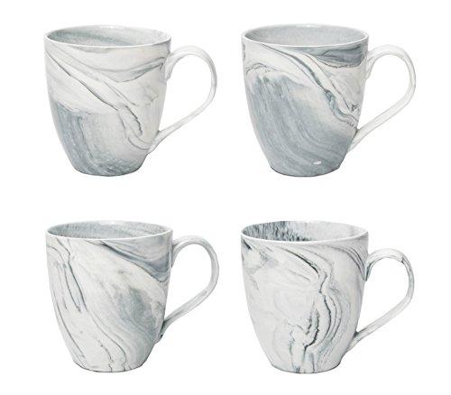 Hausmann & Söhne XXL Tasse weiß groß aus Porzellan in Grauer Marmorierung | Jumbotasse 500 ml (550 ml randvoll) im 4er Set | Kaffeetasse/Teetasse groß | Kaffeebecher Marmor | Geschenkidee