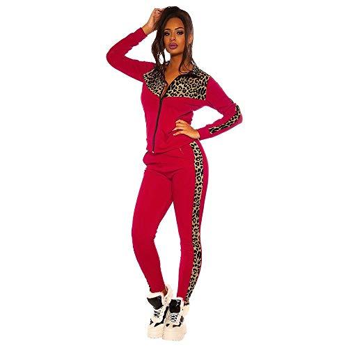 Damen Trainingsanzug Leoparden Druck Sportanzug Jogginganzug 2 Teilig Freizeitanzug Patchwork Sportbekleidung Set Sport Yoga Outfit Sportswear Fitnessanzug Rot XL