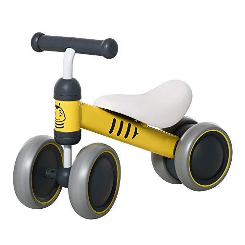 homcom Bicicletta Senza Pedali per Bambini con 3 Ruote Antiscivolo, età 18-24 Mesi, 49x19x35cm Giallo