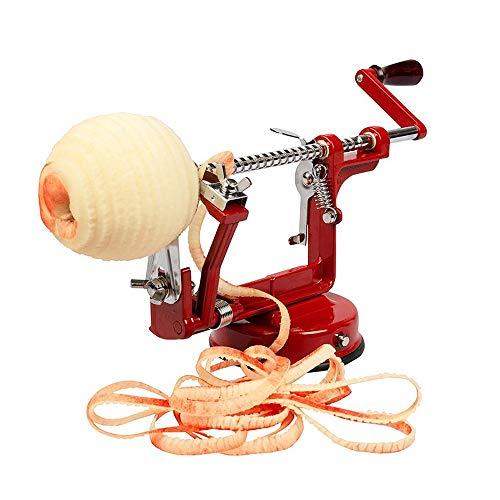 JDH Trancheuse à éplucheur de Pommes, carottier pivotant pour Pommes de Terre en Acier Inoxydable 3 en 1, Machine à éplucher de Coupe-spiraleur de Fruits à légumes en Alliage de magnésium, Rouge