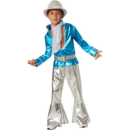 dressforfun 900497 - Jungenkostüm Disco Boy, Schillerndes Disco-Outfit aus Glanzstoff (140 | Nr. 302378)