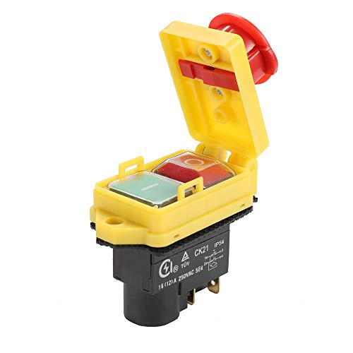 KKmoon Sicherheitsschalter, CK21D / 250V Notstopp Sicherer Schalter Wasserdichte und staubdichte Schalter Elektromagnetischer Schalter für Schleifmaschine Universal