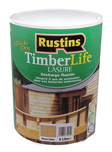 Rustins (TLMO5000) - Lasure pour bois - extérieure - UV et 5 ANS Protection - Chêne Moyen -12m²/L - 5 Litres
