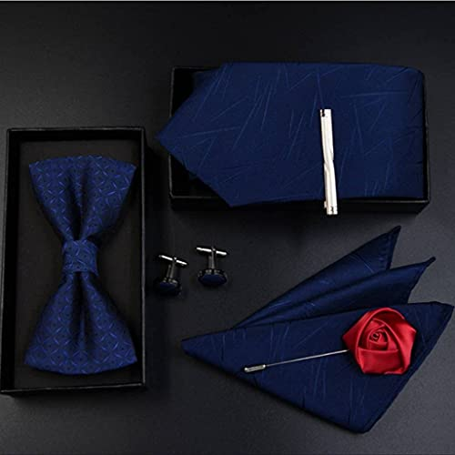 KCGNBQING Fashion Men's Bowtie Bowy Blue Silk Silk Jacquard Body Bowtie para Hombre Mariposa Bowtie Gemel Corbata/Pajarita/Conjunto de Corbata (Color : A)