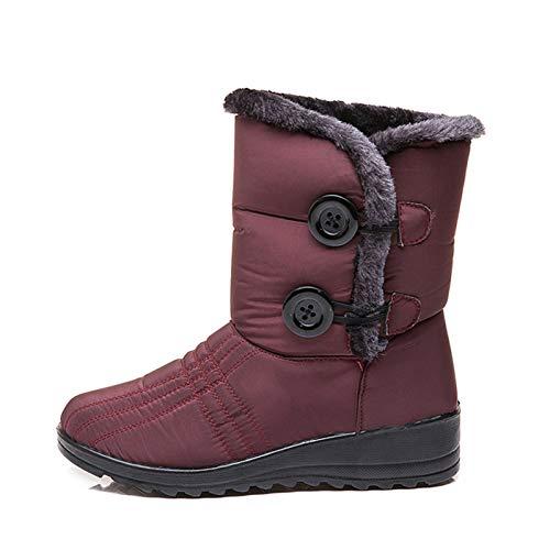 Botas de Nieve de Felpa para Mujer de Invierno, Zapatos de Botones A Media Pantorrilla Forrados de Piel Sintética Cálidos Al Aire Libre (Color : Rojo, Shoe Size : JP 25cm/EU 39/US 8.5/UK 6)