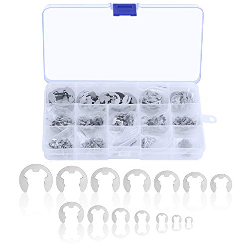 TAZEMAT 450 Stück Edelstahl E-Clip Sicherungsring Sortiment Sprengring 14 Größen 1,2 bis 13 mm mit Aufbewahrungenbox Sicherungsscheiben Sortiment für Wellennut Maschine Automotive