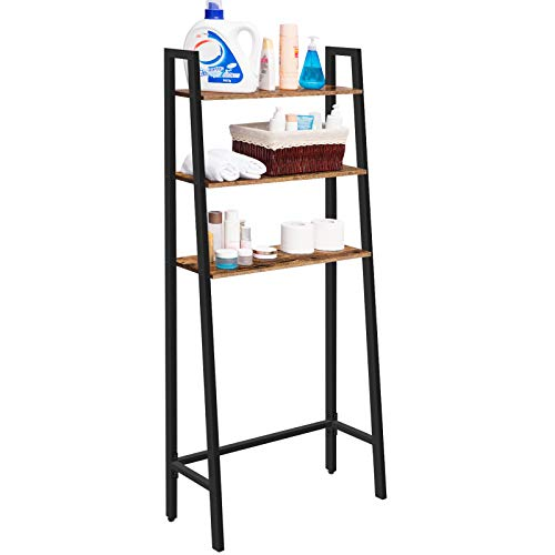 HOOBRO Bathroom Space Saver, 3-Tier Toilet Storage Rack, Industrial Multi-Functional Over-The-Toilet Cabinet, Easy to Assemble, Stable, Rustic Brown BF42TS01