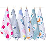 Baby Waschlappen, KEREDA 6 Stück Baby Musselin Handtuch Baumwolle Baby Gesichtstücher Extra Weiche Feuchttücher für Kinder | 25 X 25 CM