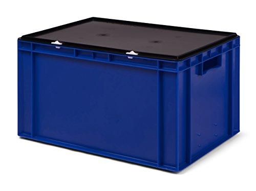 Transport-Stapelbox/Lagerbehälter blau, mit schwarzem Verschlußdeckel, 600x400x320 mm (LxBxH)