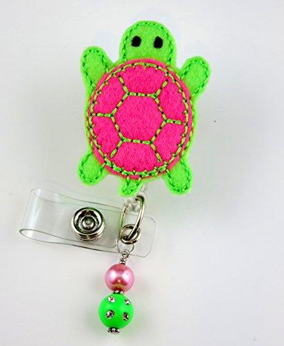 Pink Sea Turtle - Nurse Badge Reel - Retractable ID Badge Holder - Nurse Badge - Badge Clip - Badge Reels - Pediatric - RN - Name Badge Holder