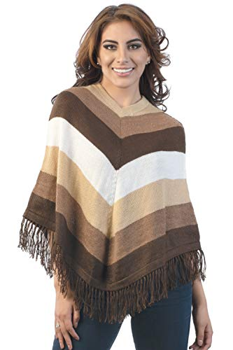 Intialpaca Gestreept Bruin Poncho in Alpaca Wol voor Vrouwen