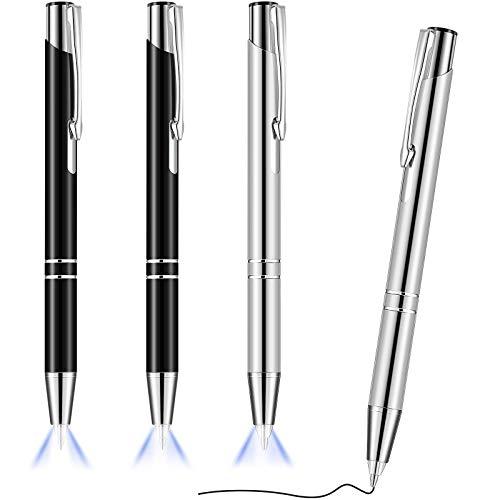 4 Stücke Beleuchteter Spitze Stift Kugelschreiber mit Licht Taschenlampe LED Lichtstift LED Taschenlampe Leuchtstift zum Schreiben im Dunkeln (Schwarz und Silber)