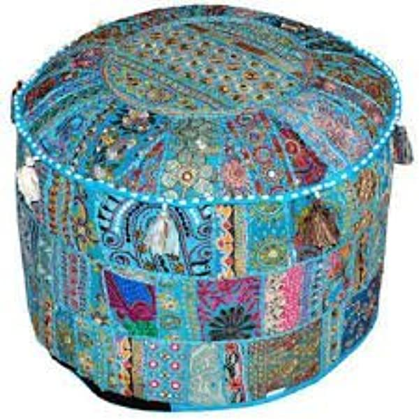 Indian Living Room Pouf Foot Stool Round Ottoman Cover Pouf Traditional Handmade Decorative Patchwork Ottoman Cover Indian Home Decor Cotton Cushion Ottoman Cover 13x18 By Traditional Indian