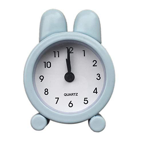 XLZZLDZ Wecker Niedliche Kaninchen Mini Wecker Kreative Metall Kleine Wecker 5 cm Elektronische Kleine Wecker Student Test Carry Uhren, Blau