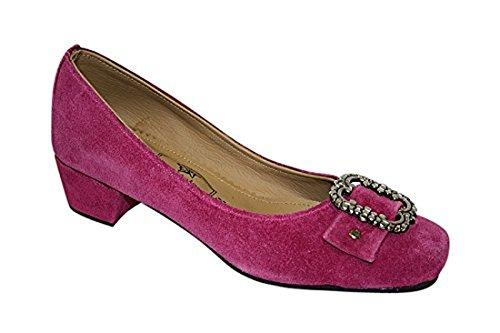 Edelnice Trachtenmode Damen Trachten Leder Pumps pink oder schwarz Gr. 36-41 (37, pink)