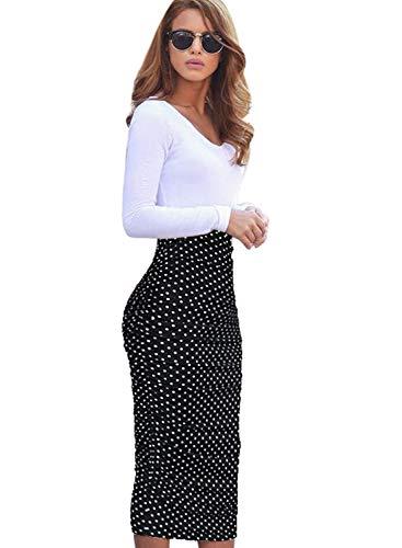 VFSHOW Womens Black and White Polka Dot Print Ruched Ruffle High Waist Pencil Midi Mid-Calf Skirt 2279 BLK M